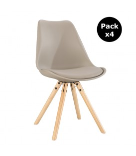 PACK X4 SCANDINAVIAN BEIGE CHAIR WITH WOOD LEGS