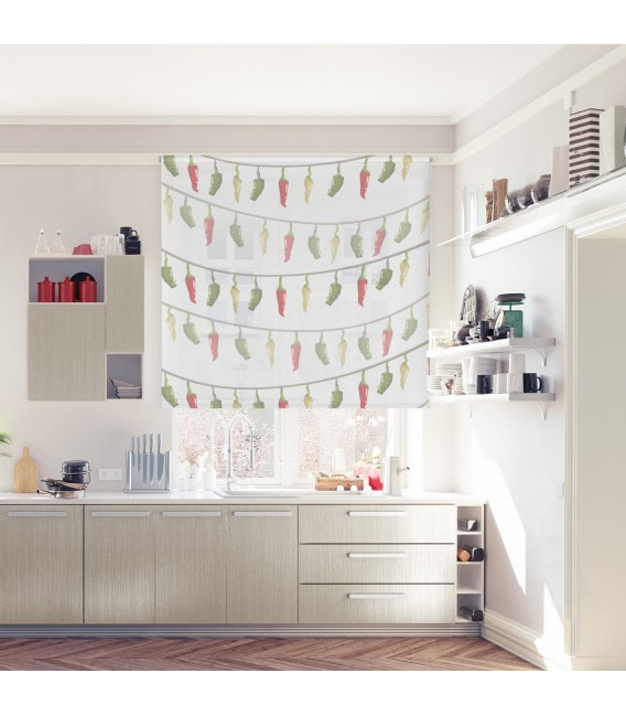 KITCHEN CHILIES PRINT ROLLED STORE