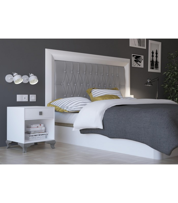 t te de lit praga 140 cm white silver mobelium. Black Bedroom Furniture Sets. Home Design Ideas