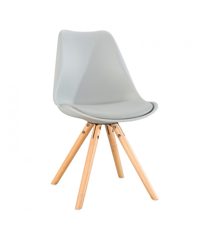 PACK X2 SCANDINAVIAN GREY CHAIR WITH WOOD LEGS
