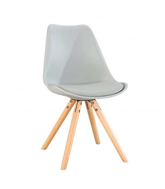 PACK X4 SCANDINAVIAN GREY CHAIR WITH WOOD LEGS