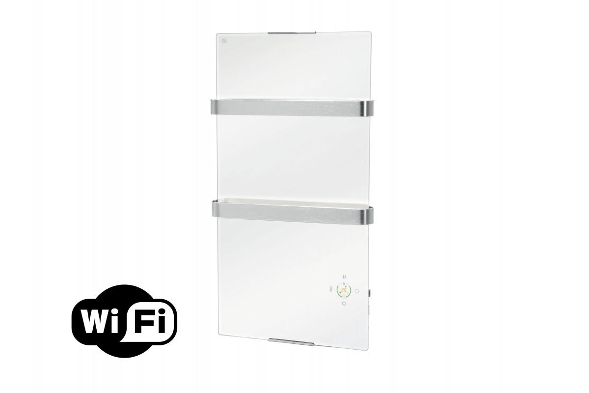 Toallero calefactor electrico con termostato y panel cristal blanco